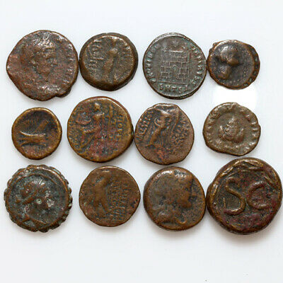 Lot Of 12 Ancient Greek And Roman Bronze Coins