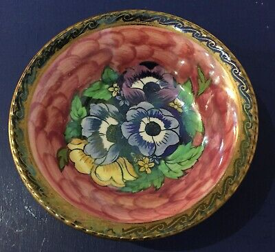 Maling pottery pink gilded lustre bowl 6386