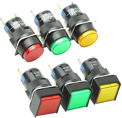 16mm Illuminated Pilot Light or Push Button Choose Color, Voltage, Switch Action