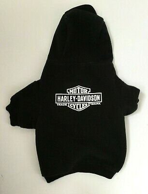 Harley Davidson Motorcycles Dog Hoodie Sweatershirt Sweater Black Fleece Large