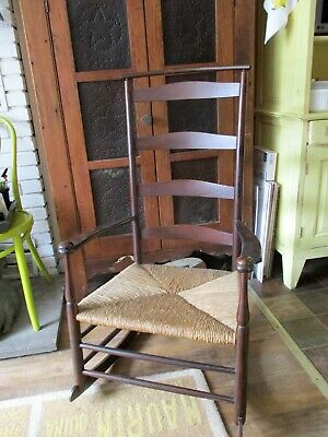 "Antique 41"" Tall SHAKER ROCKER Ladder Back STAMPED Mark ALL ORIGINAL Rare!"