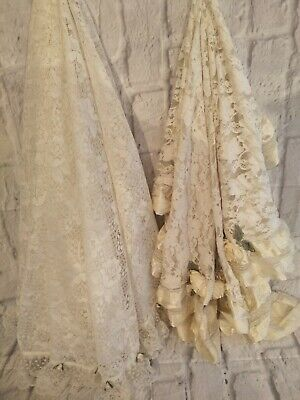 Vintage Table Lace Covers Over Lays  Cloths Cream Satin Roses  2 Tablecloths