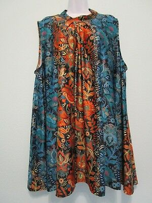 d77ba35e8c4 NWT Lily by Firmiana Size 4XL Women's Sleeveless Tunic Top Blouse Floral