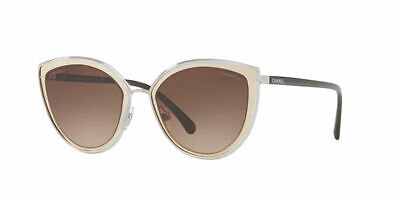 eaa0f4269e Authentic CHANEL Sunglasses Pale Gold Brown Mirror Trim 4222 124 55 Cat Eye