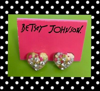 Betsey Johnson Vintage Candyland Candy Confetti Sprinkles Lucite Heart Earrings