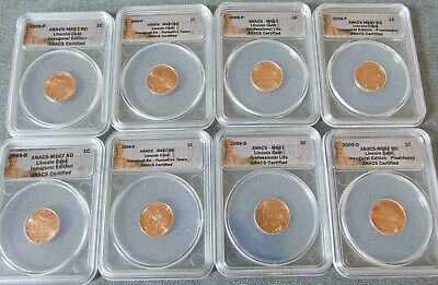 2009-P&D Lincoln Cent Bicentennial 8-pc. Set ANACS MS67 - No Reserve !