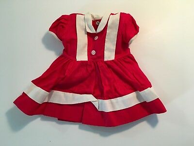 Vintage Red Doll Dress clothes 1950's Era Cute