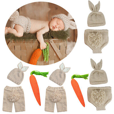 Newborn Baby Kids Knitted Easter Rabbit Bunny Photography Props Outfits Costume