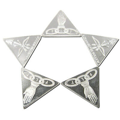 FIVE 1 Gram Silver Bullion Triangles Odd Fellows FLT .999 Fine Free USA Shipping