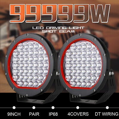 New 9inch Pair Cree LED Driving Lights Spot Round Work Lights Offroad SUV 99999W