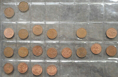 Canada Date Run 1958 to 81 1 Cent Bulk Lot  of 20  coins to aUNC