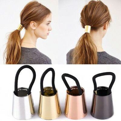 Girl Chic Trendy Metal Elastic Ponytail Holder Hair Cuff Wrap Tie Band Ring Rope