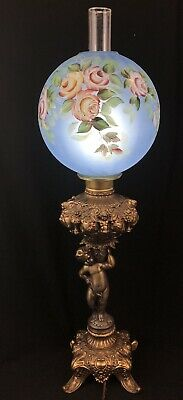 Antique Victorian Banquet Oil Lamp Electric Etched GONE WITH THE WIND LAMP
