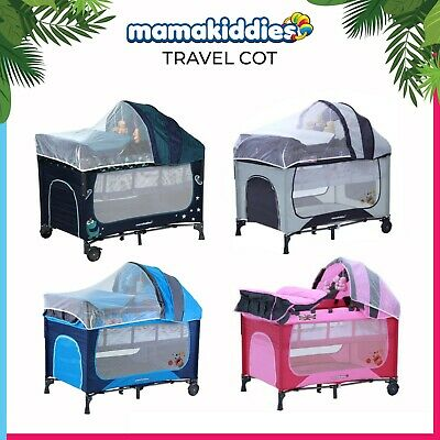 Mamakiddies Foladable Portable Infant Baby Cot Playpen Travel Portacot Bassinet
