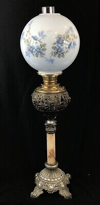 Blue Floral Antique Brass and Glass Banquet Oil Lamp GONE WITH THE WIND LAMP