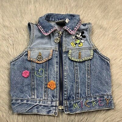 Vintage 90s Mickey And Co Disney Toddler Girls Denim Patch Zip Up Vest