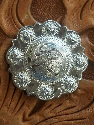 """CONCHO 2-1"""" Vintage style Sterling Silver Overlaid.925 Engraved Domed Screw back"""