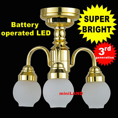 Super Bright battery operated LED LAMP Dollhouse miniature light chandelier 01