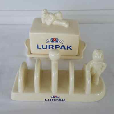 Vintage Lurpack Butter Dish And Toast Rack Ceramic Promotional (a)