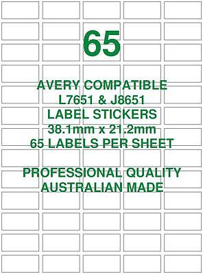 Avery L7651 & J8651 Compatible Address Shipping Labels Stickers 65 X 25 Sheets