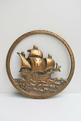 Vintage Art Deco Solid Brass Sailing Ship Boat Wall Decoration Hanging