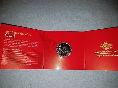 50c 2015 Lunar Year of the Goat 50 Cent Australian Coin UNC, Money in card