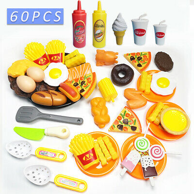 60pcs Kids Toy Pretend Role Play Kitchen Pizza Food Cutting Sets Children Gift 6