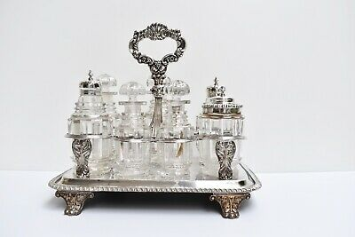 Antique Georgian Cruet Set Sheffield 1823 Sterling Silver Lids with Plated Stand