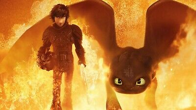 """How to Train Your Dragon 3: The Hidden World 2019 Movie poster 24x13"""" Decor 06"""
