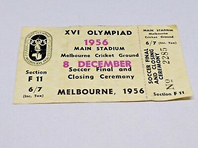 1956 Melbourne Olympic Games Ticket Soccer Final & Closing Ceremony