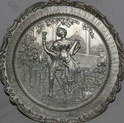 Vintage German Ornate Pewter Frieling Zinn Wall Decor Plate