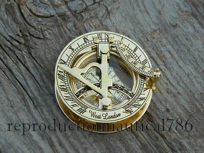 Handmade Solid Brass Pocket Sundial Compass Nautical Astrolabe Working Compass