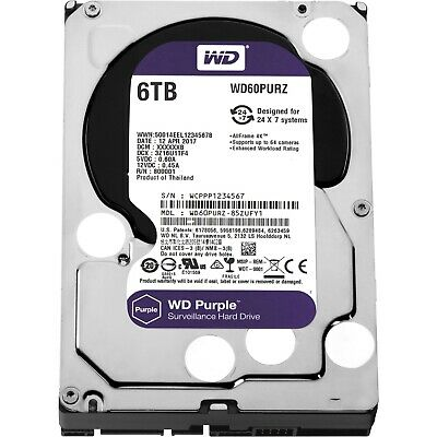 "Western Digital WD Purple 6TB 3.5"" SATA Internal CCTV Hard Drive HDD 5400RPM"