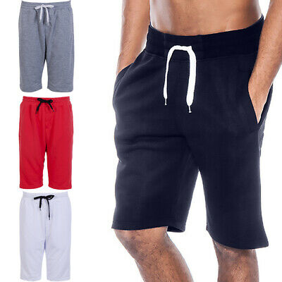 MENS FLEECE SHORTS JERSEY SWEAT SUMMER SPORTS JOGGERS CASUAL PLAIN LOUNGE PANTS