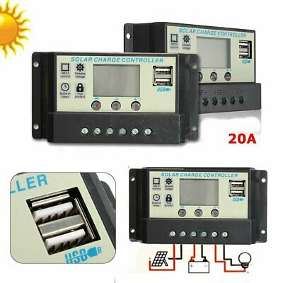 20A MPPT Solar Panel Battery Regulator Charge Controller 12 24V Auto PWM USBG5