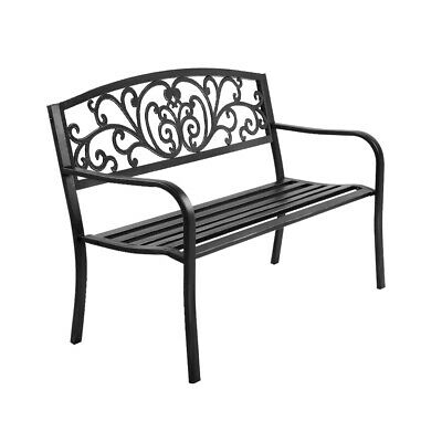 Gardeon Cast Iron Garden Bench - Black GB-STEEL-XG201-BK