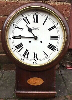 Vintage Comitti OF LONDON Mechanical Key Wind STRIKING WALL CLOCK INLAID Wood