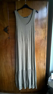 Gudrun Sjoden XL soft cotton striped stretchy beach long maxi dress khaki
