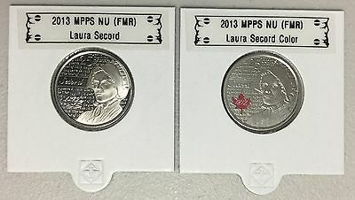 CANADA 2013 New 2 x 25 cent Laura Secord NO COLOR and COLOR (BU From roll)
