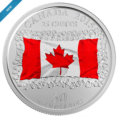 CANADA 2015 New 25 cents 50th Ann of Canadian Flag COLOR (BU From roll)