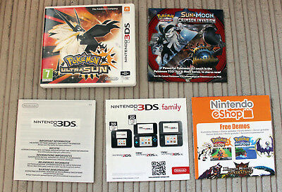 *no Game* Pokemon Ultra Sun Version Case & Leaflets Only Nintendo 3Ds 2Ds
