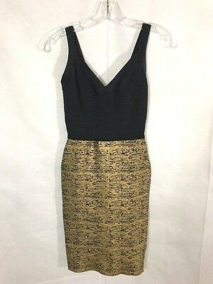 2165dfcf3a7 NWT AQUA Bloomingdales Bandage BodyCon Black and Gold Fitted Stretch Dress  Sz S