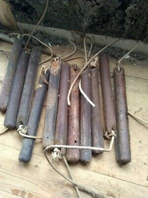 4 Antique Vintage Cast Iron Window Sash Weights