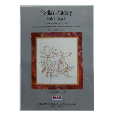 Sewing Embroidery Crafting Stitchery Kit ROSELLAS 3 Includes Fabric New