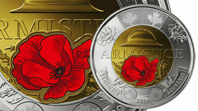 CANADA 2018 New $2 Toonie 100th Ann. Armistice 1918 COLOR (UNC From mint roll)