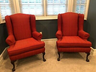 Antique Wingback chairs - Set of 2 Red