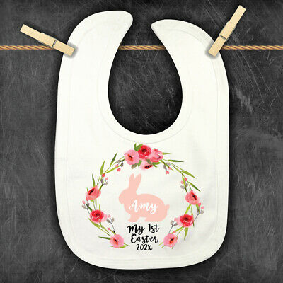 1st Easter Personalised Baby,Toddler Bib, Easter Bunny Floral Bandana Bib,