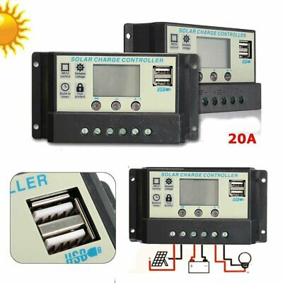 20A MPPT Solar Panel Battery Regulator Charge Controller 12 24V Auto PWM USB G2