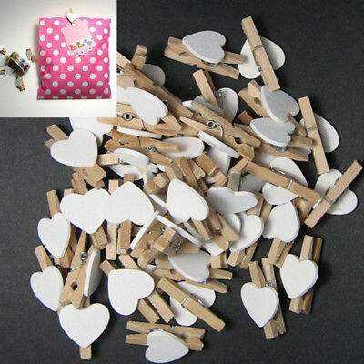BU_ JT_ 50X Wooden Clips Love Heart Clothespin DIY Cute Wedding Decor Craft Gift