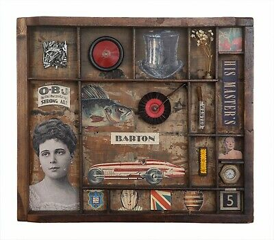 Wonderful Quirky Assemblage Artwork in Old Printers Tray Cabinet - 'Barton'